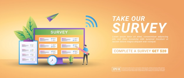 Take an online survey concept. get commission from online surveys. answer questions and get prizes.
