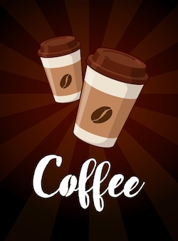 Take out two paper coffee cups with hand drawn lettering for cafe drink and beverage menu poster design. vector illustration