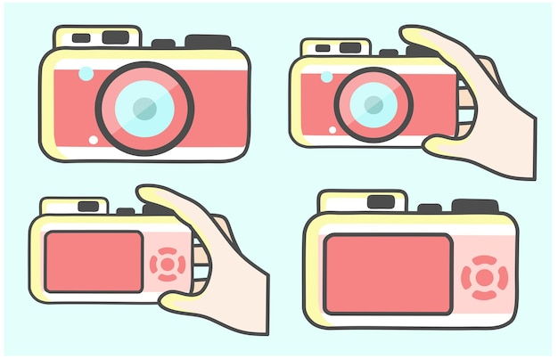 写真とビデオを撮るカメラの写真デバイスで手分離アイコンベクトルイラストデザイン
