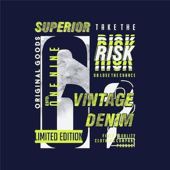 위험 슬로건, 우수한, 빈티지 데님 그래픽 디자인 티셔츠 프리미엄
