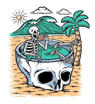 Take time to chill on the beach illustration