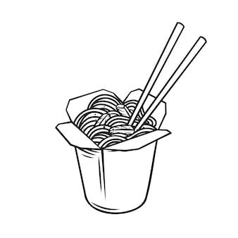 野菜と豚肉の炒め物の輪郭のアイコンが付いたテイクアウトカートンワークボックスヌードル。