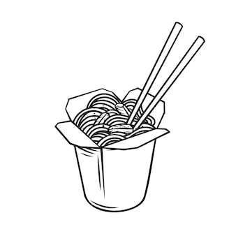 Takeaway carton wok box noodles with veggies and fried pork outline icon.