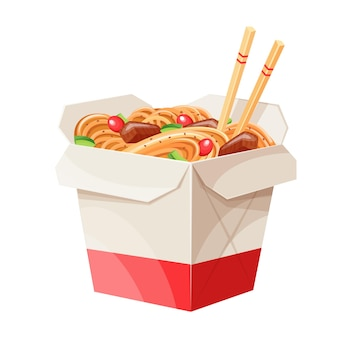 Takeaway carton wok box noodles with veggies and fried pork