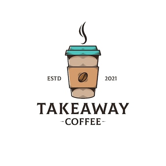 Takeaway coffee logo template isolated on white