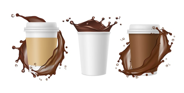 テイクアウトコーヒー。ベクトルコーヒースプラッシュと白いリアルな紙のマグカップ。チョコレートのカップ、コーヒードリンクのマグカップ、スプラッシュと新鮮な、イラストをテイクアウト