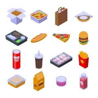 テイクアウト食品アイコンを設定します。白い背景で隔離のウェブデザインのテイクアウト食品ベクトルアイコンの等尺性セット