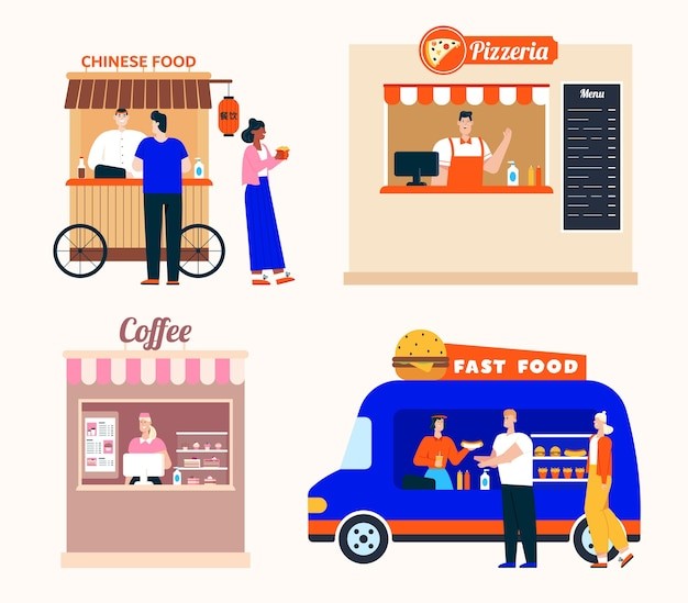 Takeaway food service in restaurants set. chinese food, pizzeria, coffee shop, mobile fast food van. customer buys dishes or drinks, showcase and menu, window for order