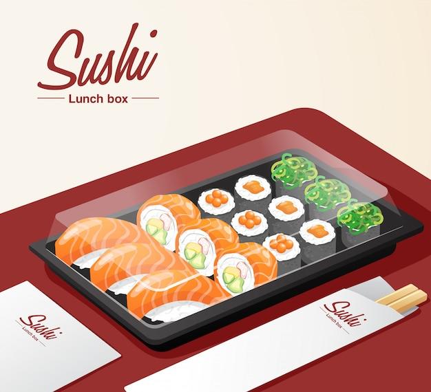 赤いテーブルにトレイ、箸、ナプキンが入った持ち帰り用の寿司セット