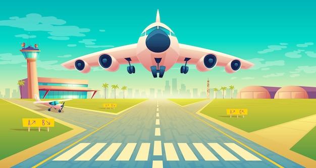 Взлет самолета на посадочную полосу для самолетов около терминала, диспетчерский пункт в башне