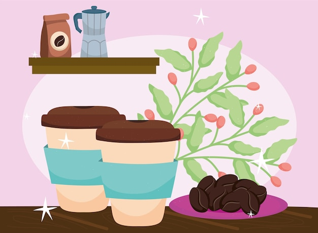 Takeway coffees with plant
