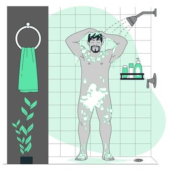 샤워 개념 그림을 복용