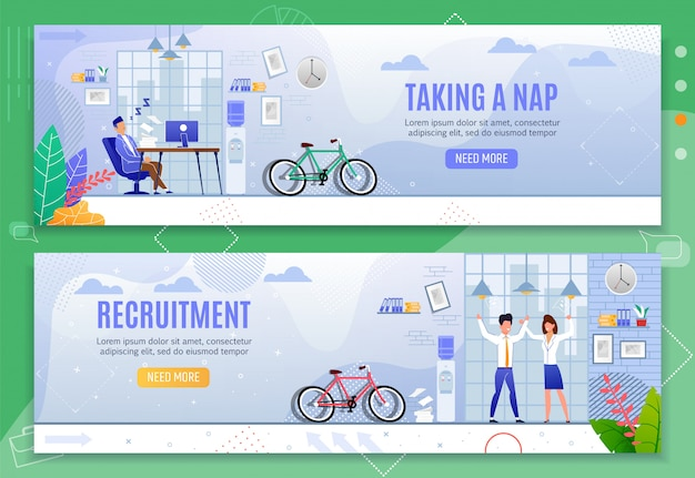 Taking nap and recruitment header banners set