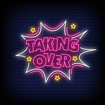 Taking over neon signs style text