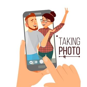 Taking photo on smartphone Premium Vector