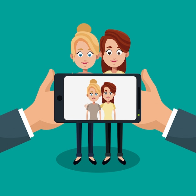 Taking a picture with smartphone cartoon concept