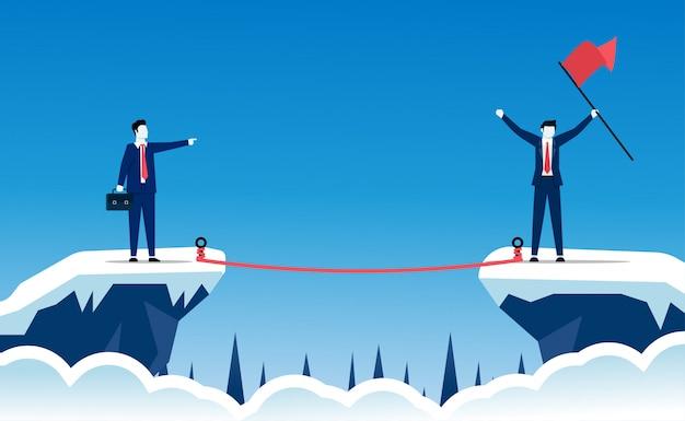 リスクを取ることは成功のコンセプトです。ビジネスマンのキャラクターは、ビジネスとキャリアの道で大きな成功を収めるために行動し、挑戦しています。