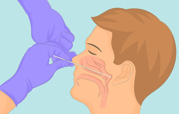 Taking sample swab from the nose and throat