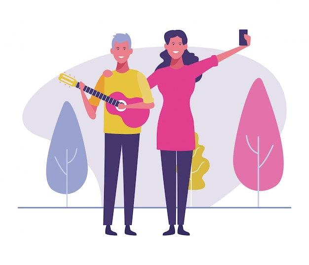 Taking selfie with musician