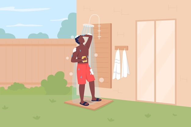 Taking shower in backyard flat . keeping cool in summer. outdoor shower. suntanned man in swimming shorts 2d cartoon faceless character with beach house
