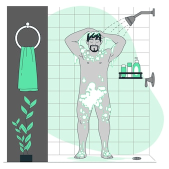 Taking a shower concept illustration