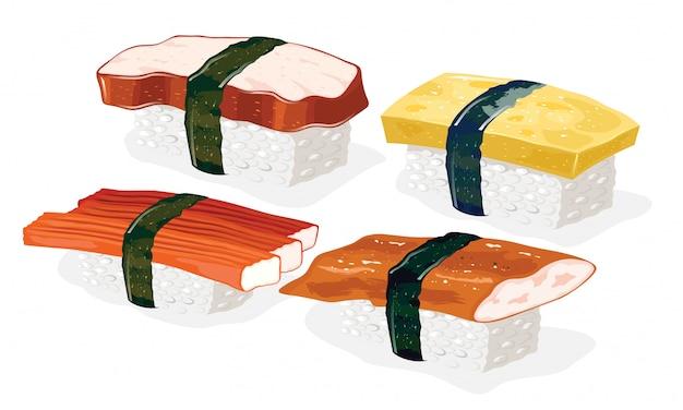 Тако, кани, унаги и тамаго суши