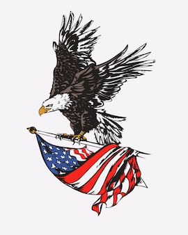 Tal爪で前方に飛んで、アメリカの国旗の翼を広げる平均悲鳴白頭ワシの漫画クリップアートイラスト。