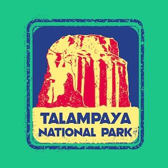 Talampaya national park stamp badge illustration with classic vintage design