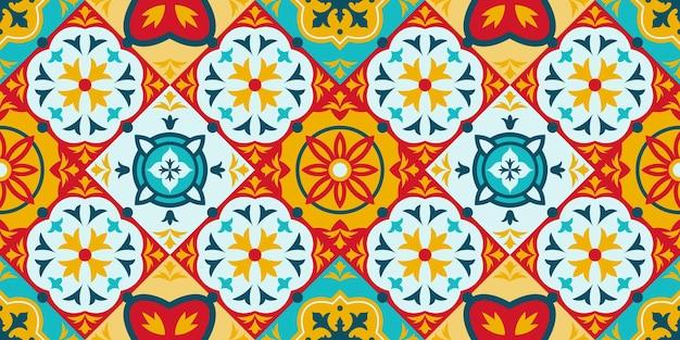 Talavera, azulejo mosaic porcelain ceramic tile seamless pattern. decorative ethnic ornament tiles pattern vector background illustration. mediterranean mosaic tiles