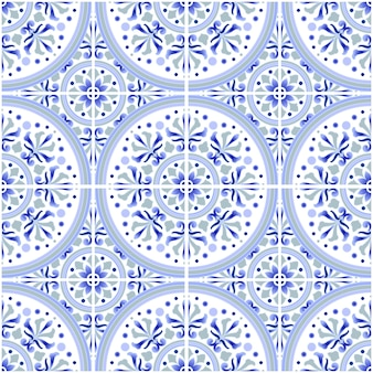 Talavera tile pattern, azulejos portugal ornament, colorful ceramic decor, moroccan mosaic, spanish porcelain tableware, folk print, spanish pottery, mediterranean seamless wallpaper blue vector