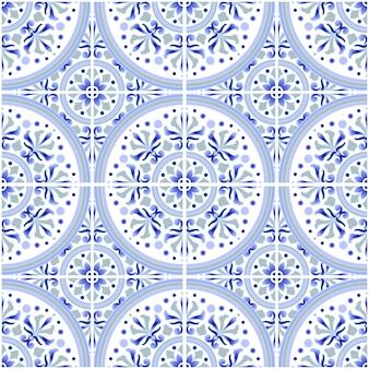 Talaveraタイルパターン、アズレージョポルトガル飾り、カラフルなセラミックの装飾、モロッコのモザイク、スペインの磁器の食器、民俗印刷、スペインの陶器、地中海のシームレスな壁紙青いベクトル