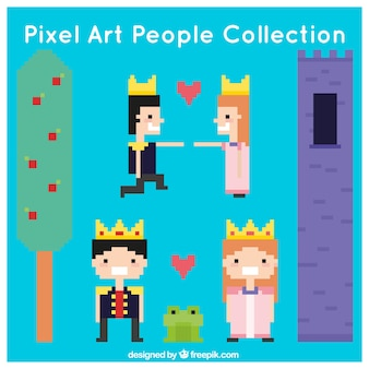 Tale elements collection of pixelated princess and prince