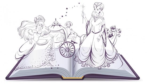 シンデレラの物語。開いた本のファンタジー物語。ガラスのスリッパと妖精とシンデレラ