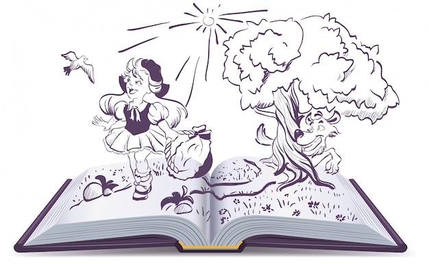 Сказка о красной шапочке и сером волке. открытая книга фэнтези