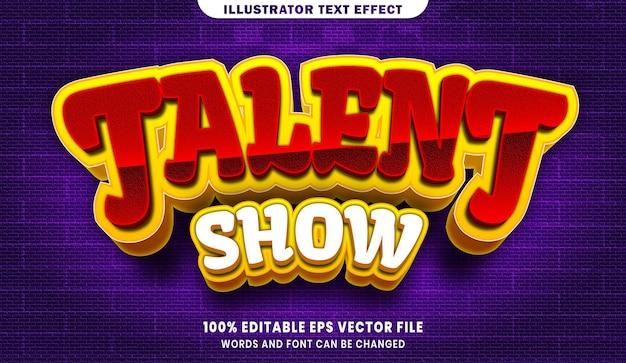 Шоу талантов с редактируемым эффектом стиля текста 3d