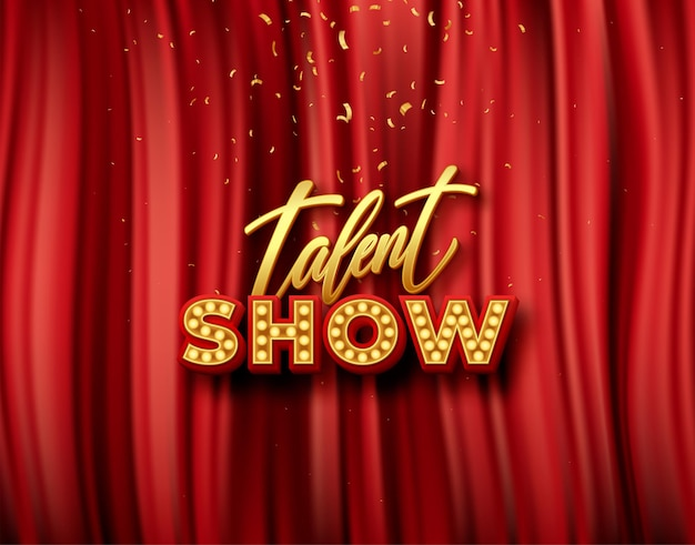 Talent show banner, gold inscription on red curtain with golden confetti.