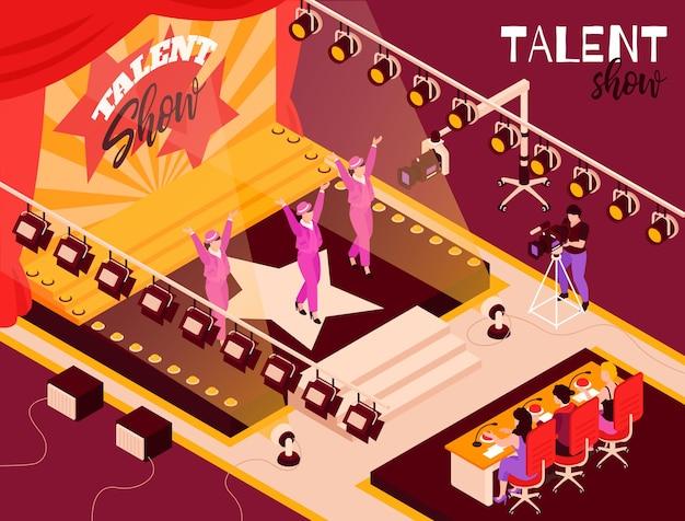 Конкурсанты танцевальной группы шоу талантов в розовом на сцене в свете прожекторов перед судьями изометрической композиции