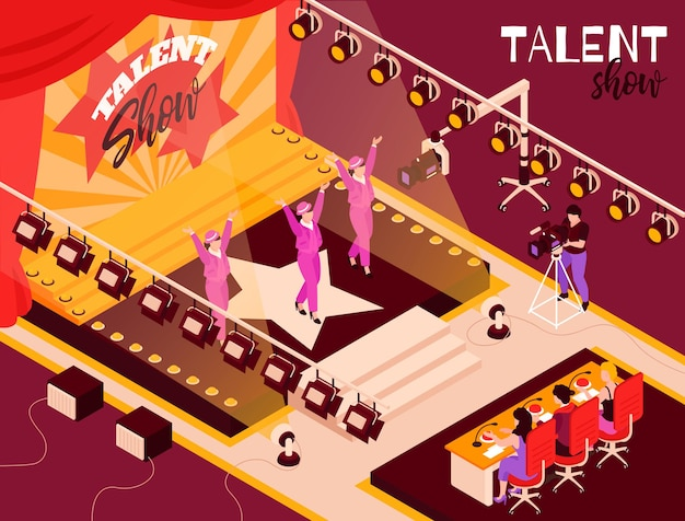 Talent show dance group contestants in pink performing onstage in spotlights before judges isometric composition