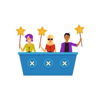 Жюри или судьи шоу талантов, персонажи мультфильмов оценивают участника, плоские векторные иллюстрации на белом фоне. развлечения и конкурс талантов.