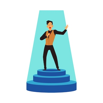Talent show performer sing on stage pedestal, flat vector illustration isolated.