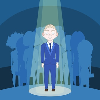 Talented man in spotlight over silhouette people background
