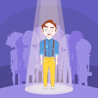 Talented man standing in spotlight over silhouette people crowd background