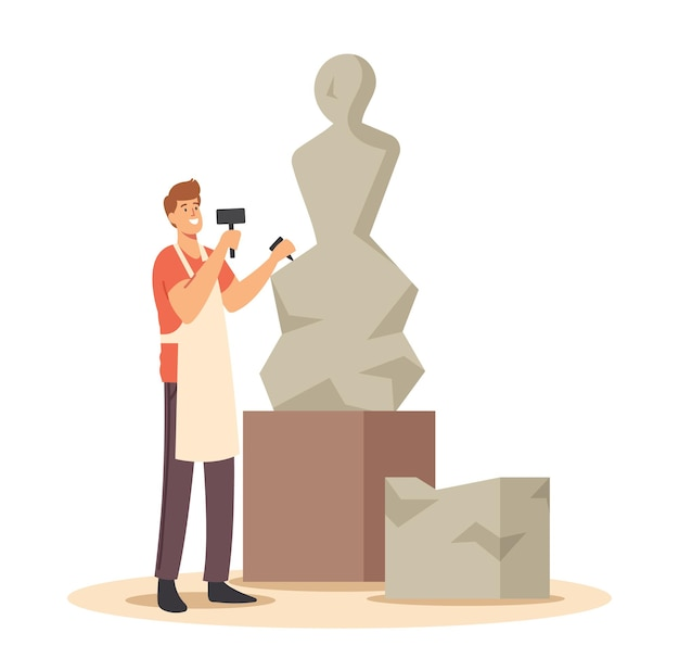 Talented young man sculptor working on sculpture making figure of stone or marble. craft hobby and creative profession. artist carver artistic hobby or job. cartoon vector illustration