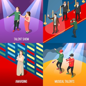 Talents and awards isometric composition set