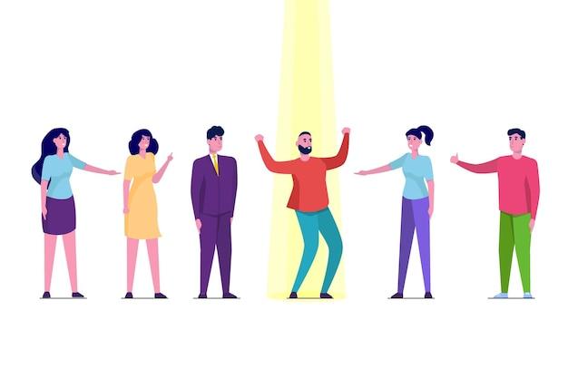 인재 검색, 직원 채용, 구직 및 경력 개념. 스포트 라이트에서 사업가
