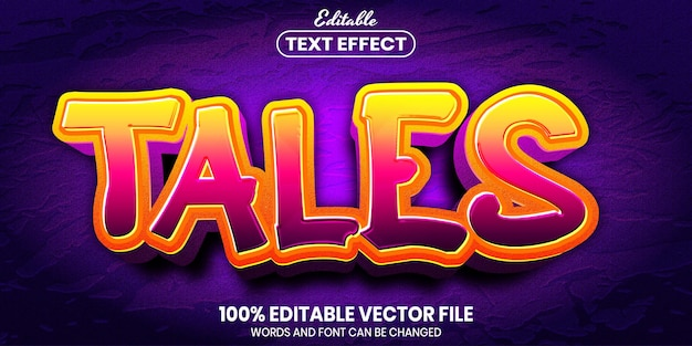 Tales text, font style editable text effect