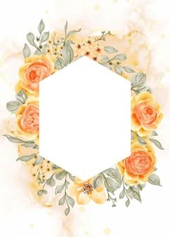 タリサローズイエローオレンジフラワーフレームの背景と白いスペースの六角形