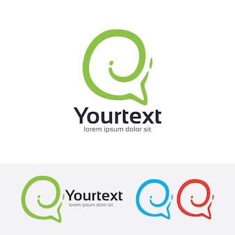 Talk green abstract vector logo template