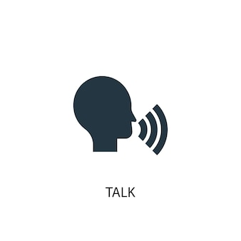 Значок разговора. простая иллюстрация элемента. обсуждение концепции символ дизайна. может использоваться в интернете и на мобильных устройствах.