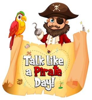 Баннер шрифта talk like a pirate day с мультипликационным персонажем pirate